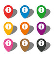 set of nine colorful map pointers vector image