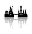 silhouette of a city with reflection vector image