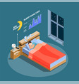 sleep analysis isometric composition vector image