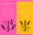 summer fest and guitar solo collection of banners vector image vector image