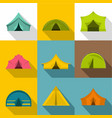 tourist tent icons set flat style vector image vector image