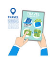 travel template background hands holding digital vector image vector image