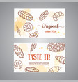 vintage business card with sketch bakery pastries vector image