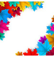 white autumn background with colorful maple leaves vector image vector image
