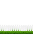 white fence with green grass and background vector image vector image