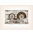Audio cassette sketch style vector image