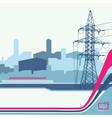High-voltage tower silhouette on urban background vector image