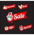 029 Collection of Christmas Sale red and green web vector image vector image