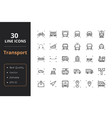 30 transport line icons vector image