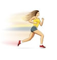 a realistic sports running girl on white vector image