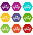 bike icon set color hexahedron vector image vector image