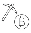 bitcoin mining thin line icon money and finance vector image vector image