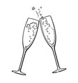 black and white sketch of two glasses of champagne vector image vector image
