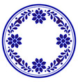 blue and white flower round vector image vector image