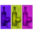 Bottles wine and glasses vector image vector image