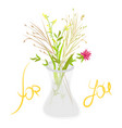 bouquet of wild flowers in glass vase vector image