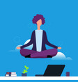 businesswoman doing yoga and meditation girl vector image vector image