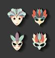 carnival set masks vintage icons vector image vector image