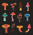 cartoon forest mushrooms hand drawn icons set vector image