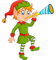 Cartoon funny elf blowing trumpet vector image
