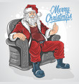 christmas santa claus sit down on sofa chair artwo vector image vector image