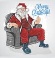 christmas santa claus sit down on sofa chair artwo vector image