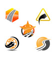 collection of road construction creative logo vector image vector image