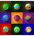 colorful planets icons set flat style vector image