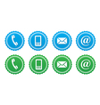 Contact retro labels set - blue and green vector image