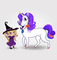 cute baby witch girl together with beautiful vector image
