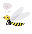 cute wasp isolated on white background and speech vector image