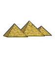 egyptian pyramids sketch engraving vector image