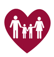 Family and heart vector image