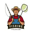 fisherman with fishing rod logo fishery fish vector image
