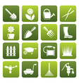 Flat Garden and gardening tools and objects icons vector image vector image
