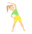 Girl doing exercises icon cartoon style vector image