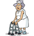 grandmother on crutches vector image vector image