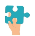 hand finger palm puzzle piece vector image