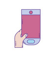 hand with smartphone phone fill and line vector image