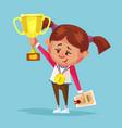 happy smiling little girl winner holds golden cup vector image