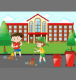 kids sweeping the road vector image vector image