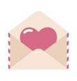 Love letter envelope and heart sticker cartoon vector image