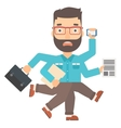 Man coping with multitasking vector image vector image