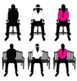 man silhouette siting on chair color vector image vector image