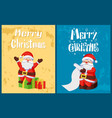 merry christmas santa claus read wish list gifts vector image vector image
