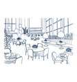modern restaurant or cafe interior furnished with vector image