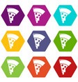 pizza icons set 9 vector image