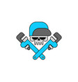 plumber service emblem skull and adjustable wrench vector image