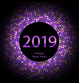 purple discoball new year 2019 greeting poster vector image vector image