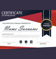 Red black elegance horizontal circle certificate vector image